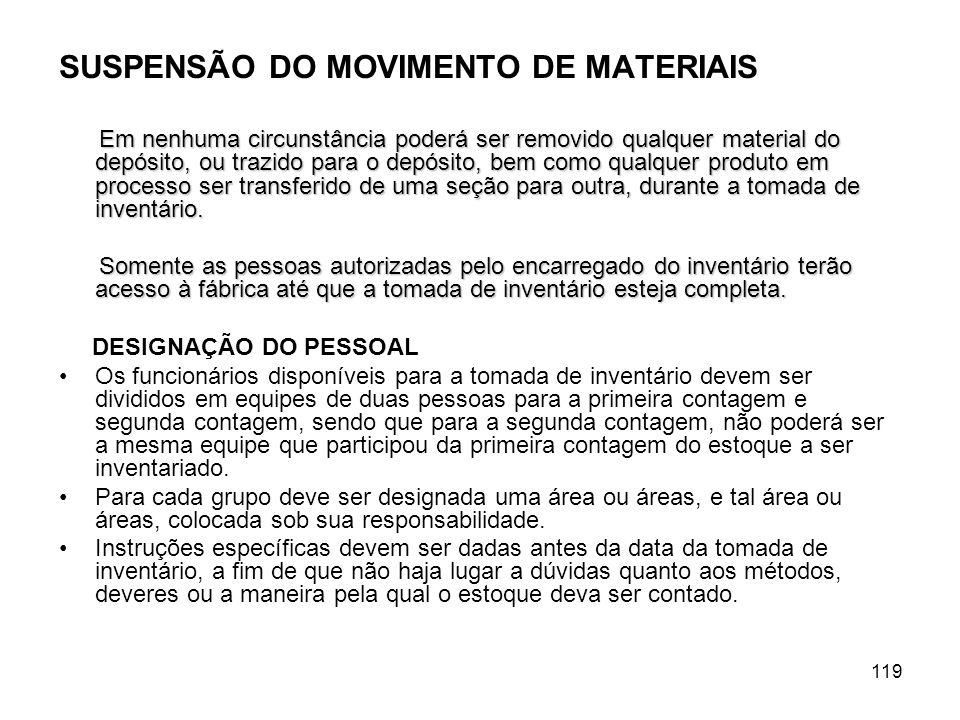 SUSPENSÃO DO MOVIMENTO DE MATERIAIS