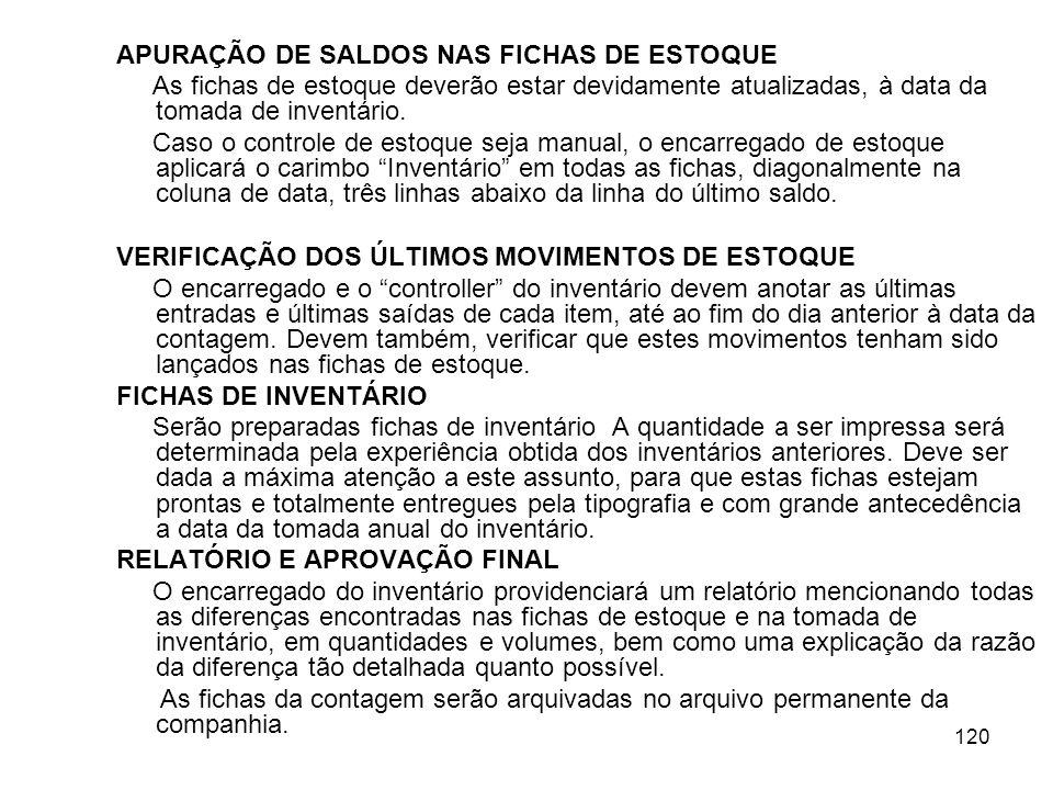 APURAÇÃO DE SALDOS NAS FICHAS DE ESTOQUE