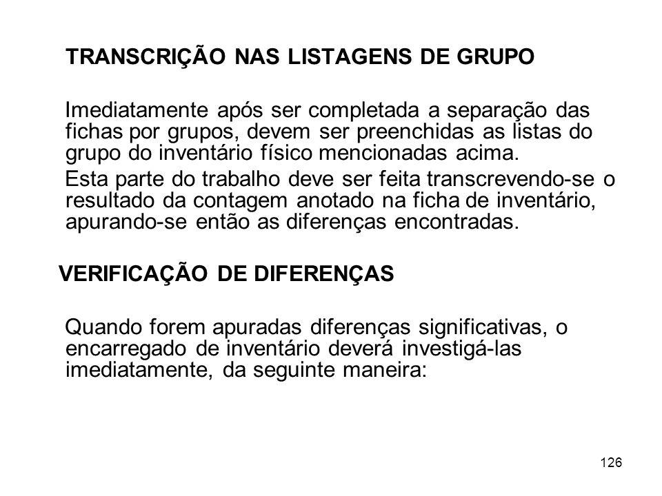 TRANSCRIÇÃO NAS LISTAGENS DE GRUPO