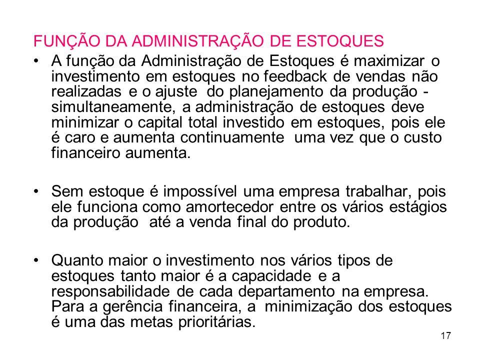 FUNÇÃO DA ADMINISTRAÇÃO DE ESTOQUES