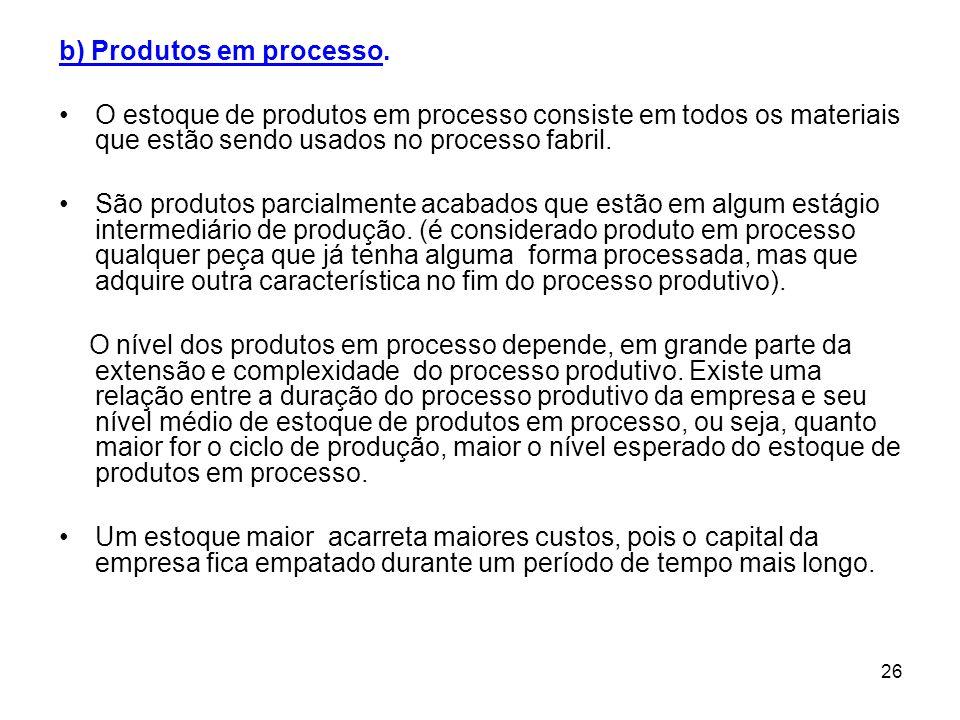 b) Produtos em processo.