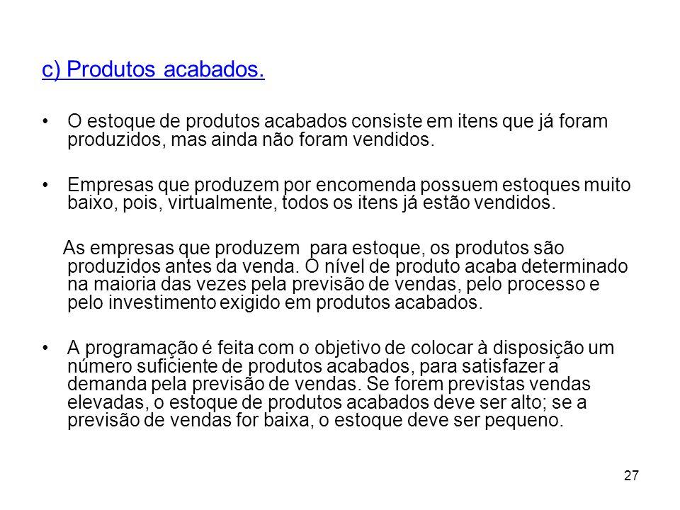 c) Produtos acabados. O estoque de produtos acabados consiste em itens que já foram produzidos, mas ainda não foram vendidos.