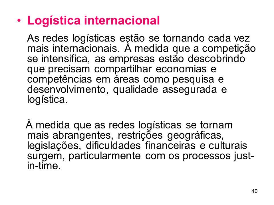 Logística internacional As redes logísticas estão se tornando cada vez mais internacionais. À medida que a competição se intensifica, as empresas estão descobrindo que precisam compartilhar economias e competências em áreas como pesquisa e desenvolvimento, qualidade assegurada e logística.