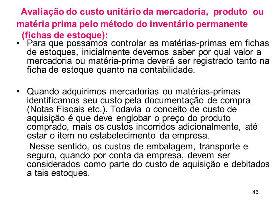 Avaliação do custo unitário da mercadoria, produto ou matéria prima pelo método do inventário permanente (fichas de estoque):