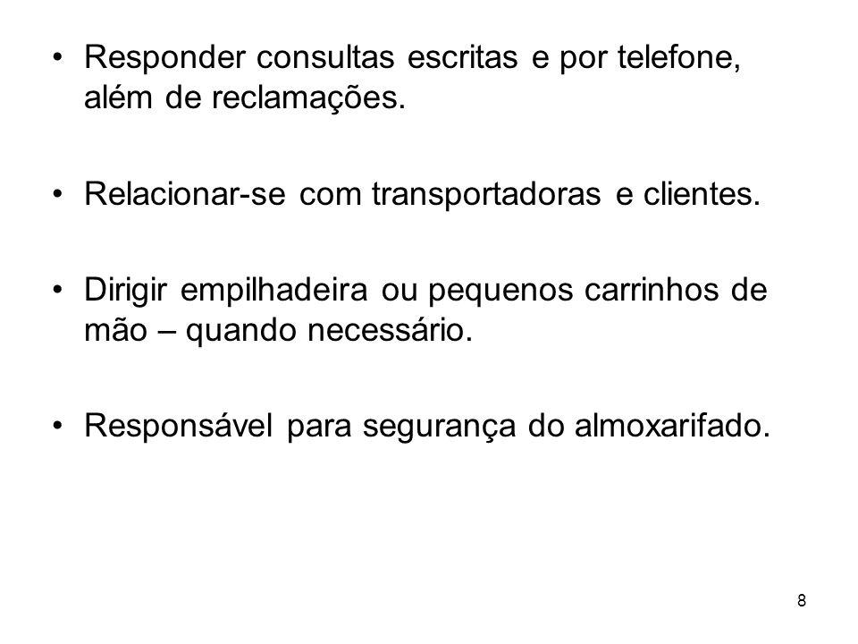 Responder consultas escritas e por telefone, além de reclamações.