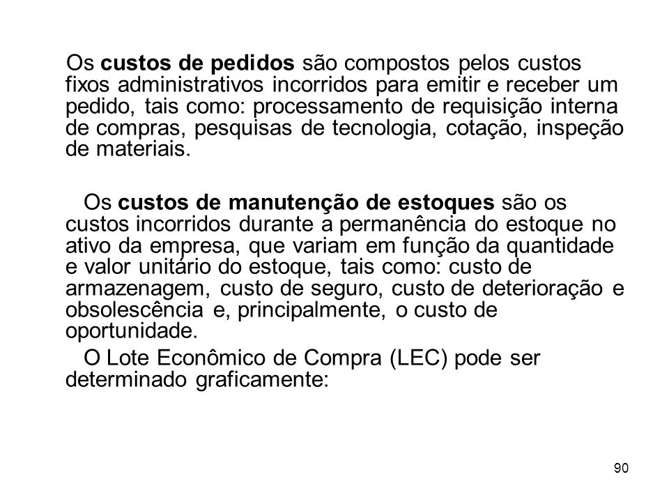 O Lote Econômico de Compra (LEC) pode ser determinado graficamente: