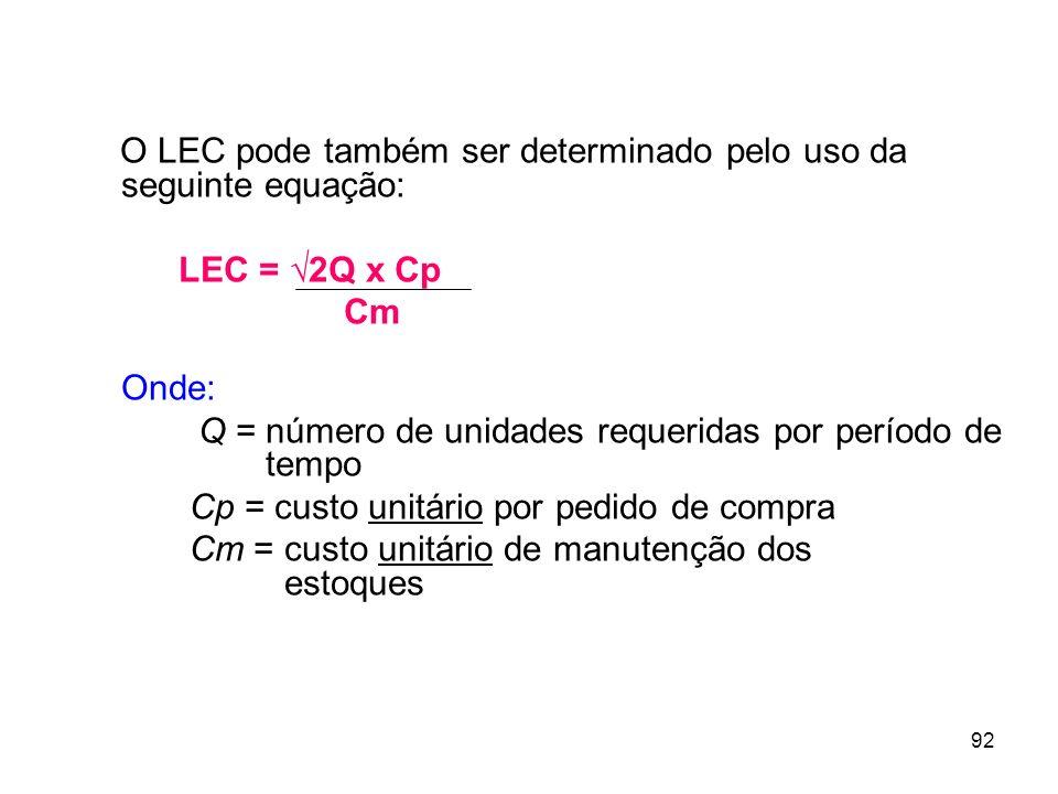 O LEC pode também ser determinado pelo uso da seguinte equação: