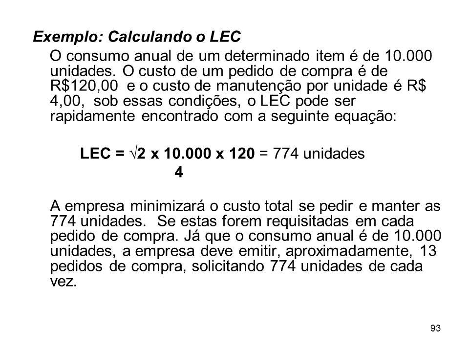 Exemplo: Calculando o LEC