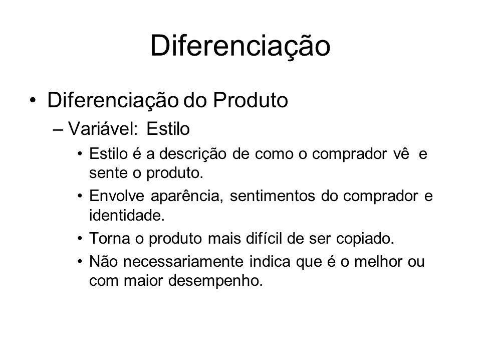 Diferenciação Diferenciação do Produto Variável: Estilo