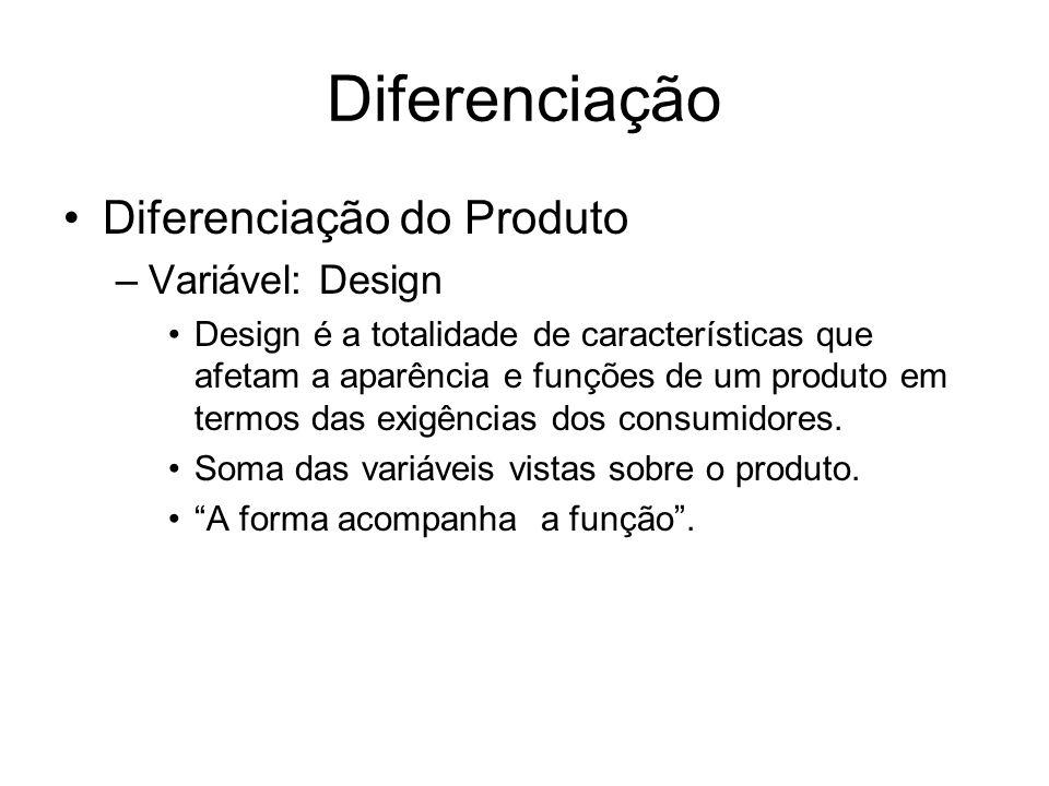 Diferenciação Diferenciação do Produto Variável: Design