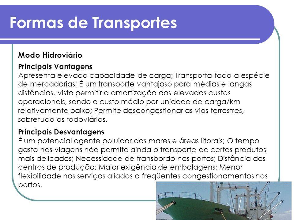 Formas de Transportes Modo Hidroviário Principais Vantagens