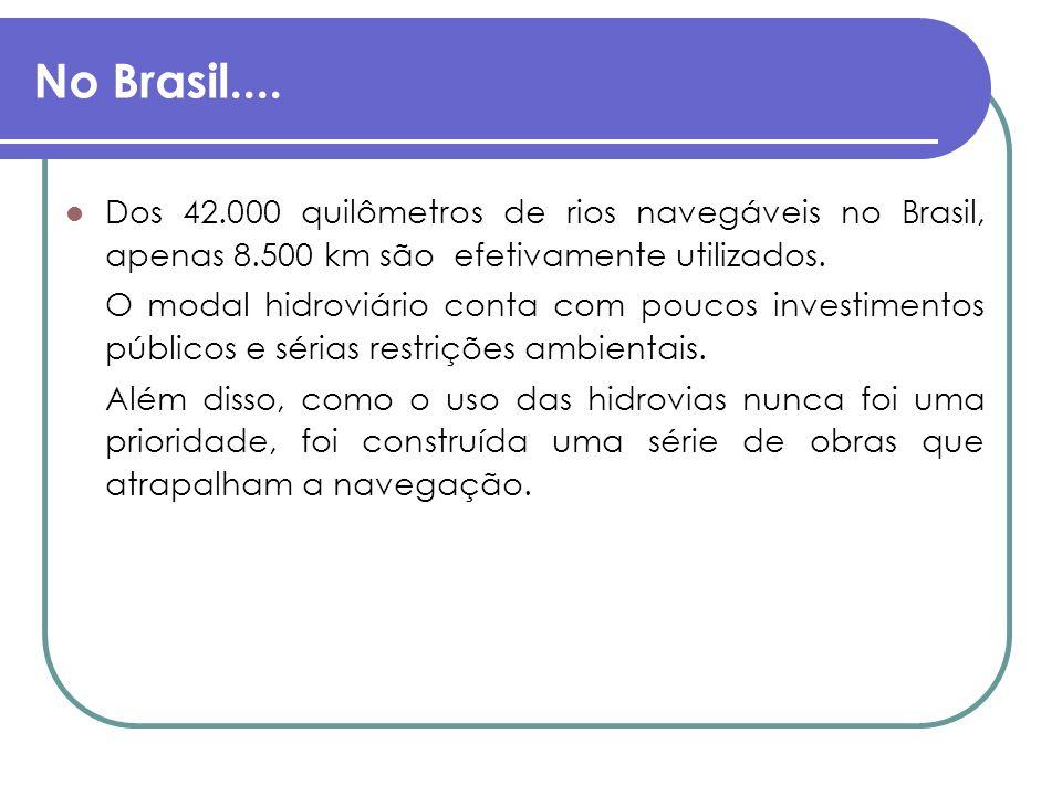 No Brasil.... Dos 42.000 quilômetros de rios navegáveis no Brasil, apenas 8.500 km são efetivamente utilizados.