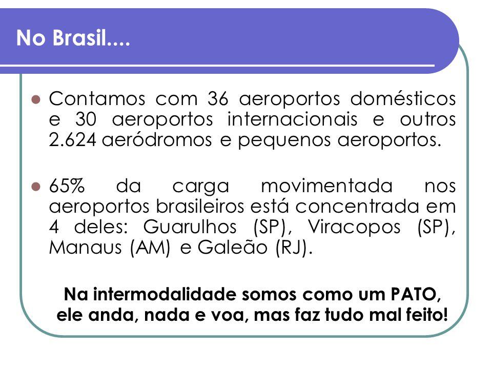 No Brasil.... Contamos com 36 aeroportos domésticos e 30 aeroportos internacionais e outros 2.624 aeródromos e pequenos aeroportos.