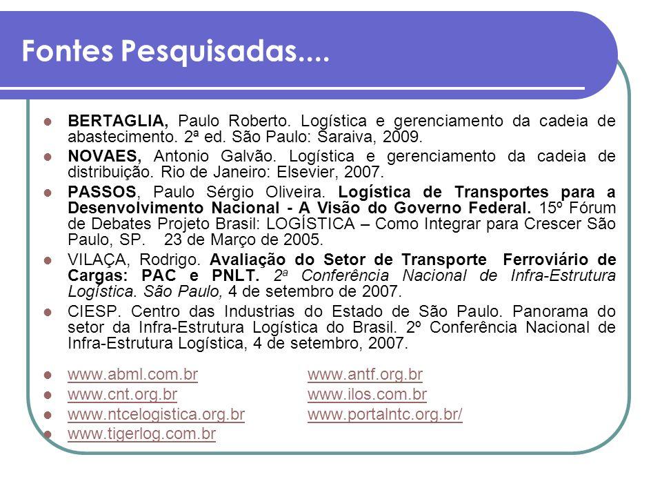 Fontes Pesquisadas.... BERTAGLIA, Paulo Roberto. Logística e gerenciamento da cadeia de abastecimento. 2ª ed. São Paulo: Saraiva, 2009.