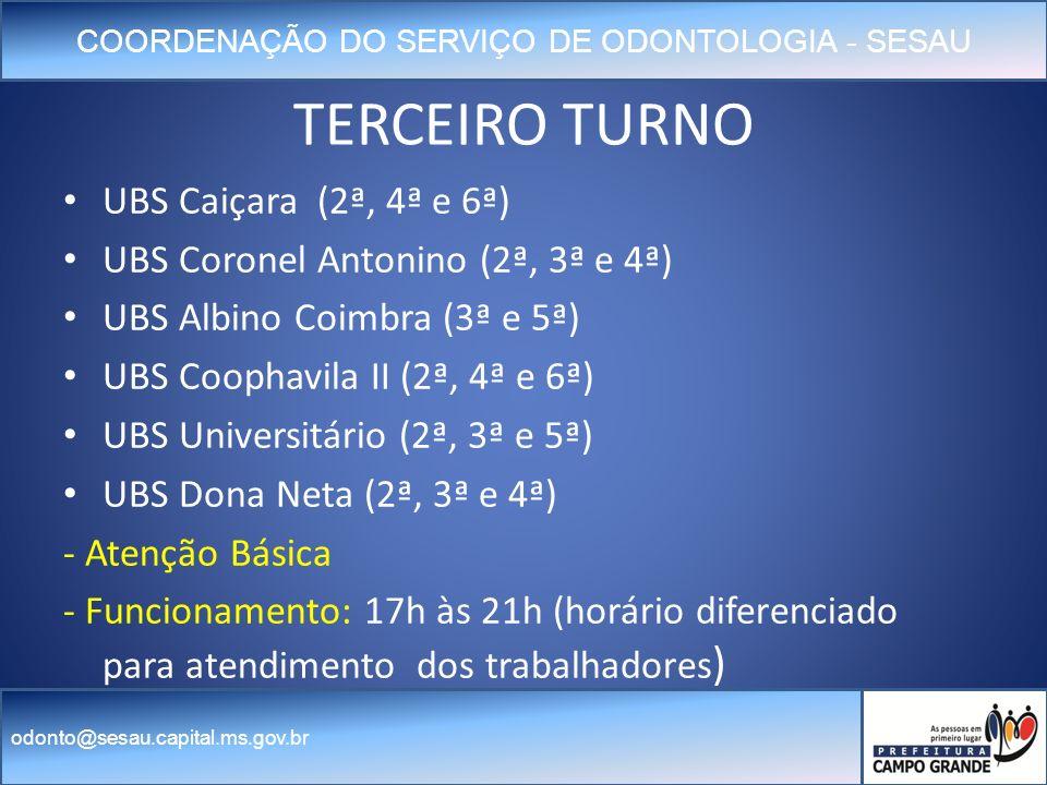 TERCEIRO TURNO UBS Caiçara (2ª, 4ª e 6ª)