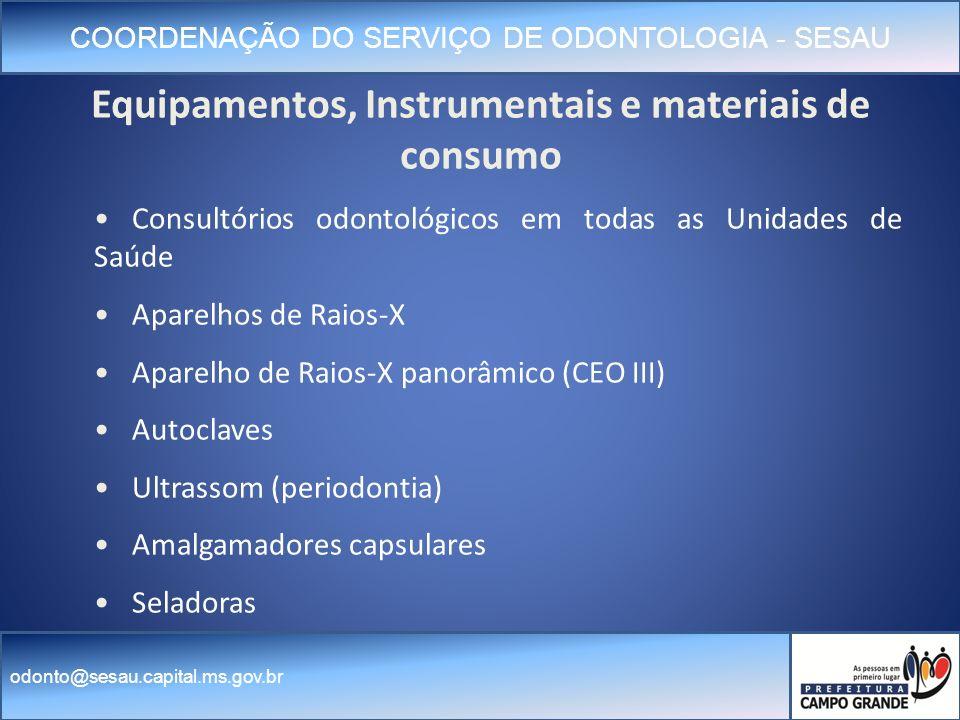 Equipamentos, Instrumentais e materiais de consumo