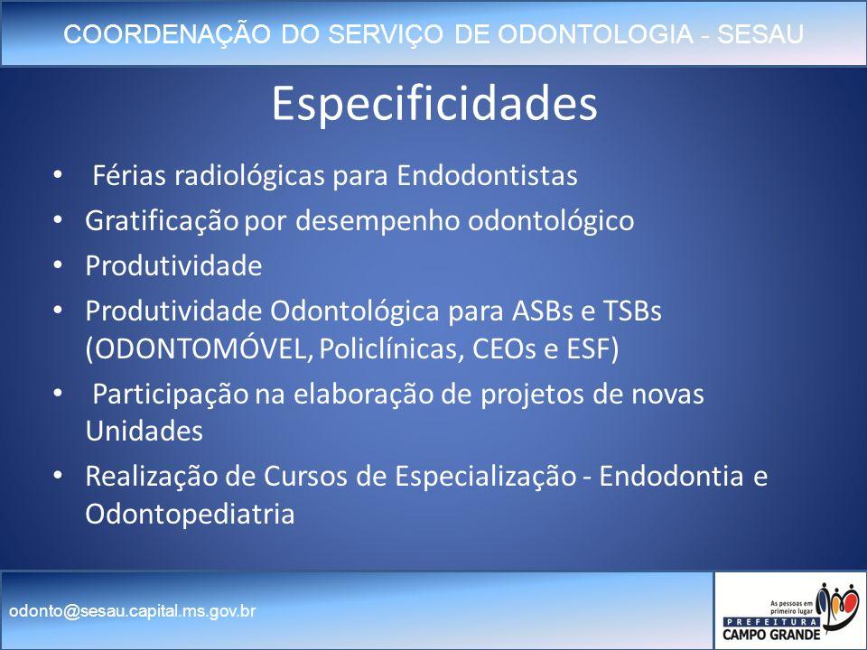 Especificidades Férias radiológicas para Endodontistas