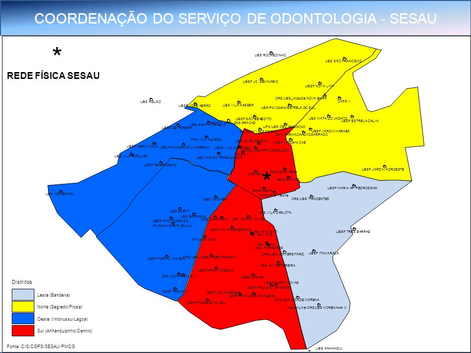 * * REDE FÍSICA SESAU Distritos Leste (Bandeira) Norte (Segredo/Prosa)