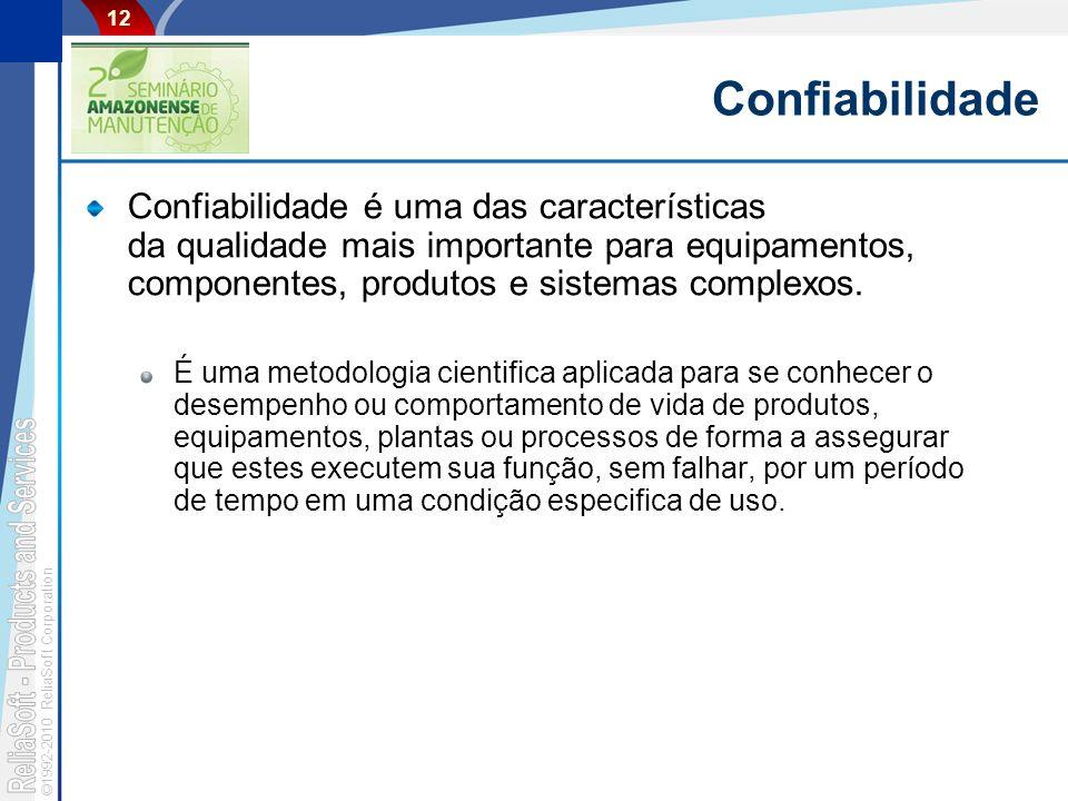 Confiabilidade Confiabilidade é uma das características da qualidade mais importante para equipamentos, componentes, produtos e sistemas complexos.