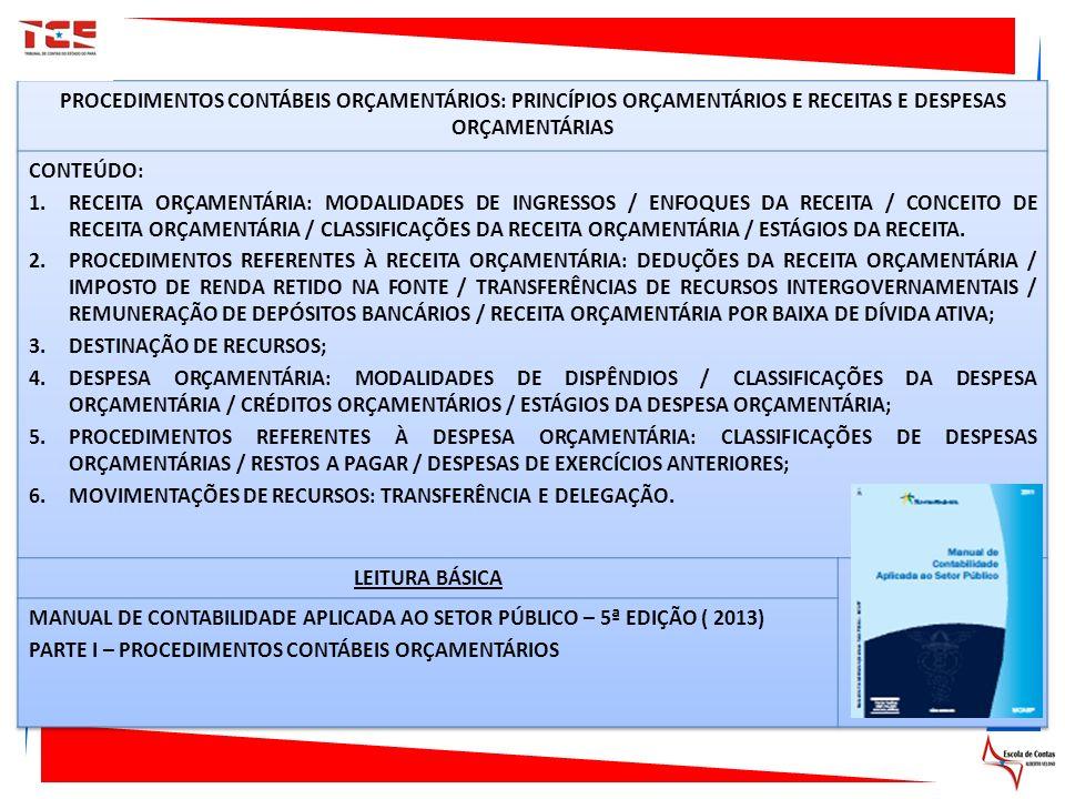 PROCEDIMENTOS CONTÁBEIS ORÇAMENTÁRIOS: PRINCÍPIOS ORÇAMENTÁRIOS E RECEITAS E DESPESAS ORÇAMENTÁRIAS