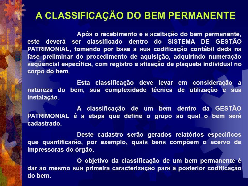 A CLASSIFICAÇÃO DO BEM PERMANENTE