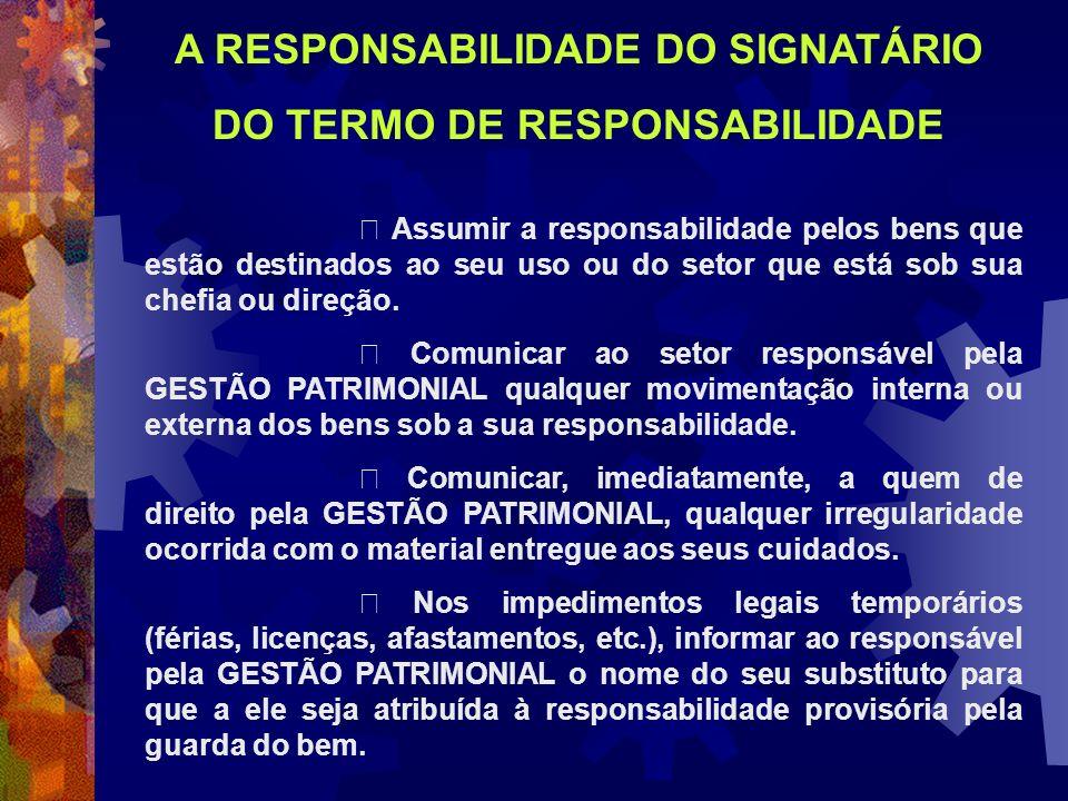 A RESPONSABILIDADE DO SIGNATÁRIO DO TERMO DE RESPONSABILIDADE