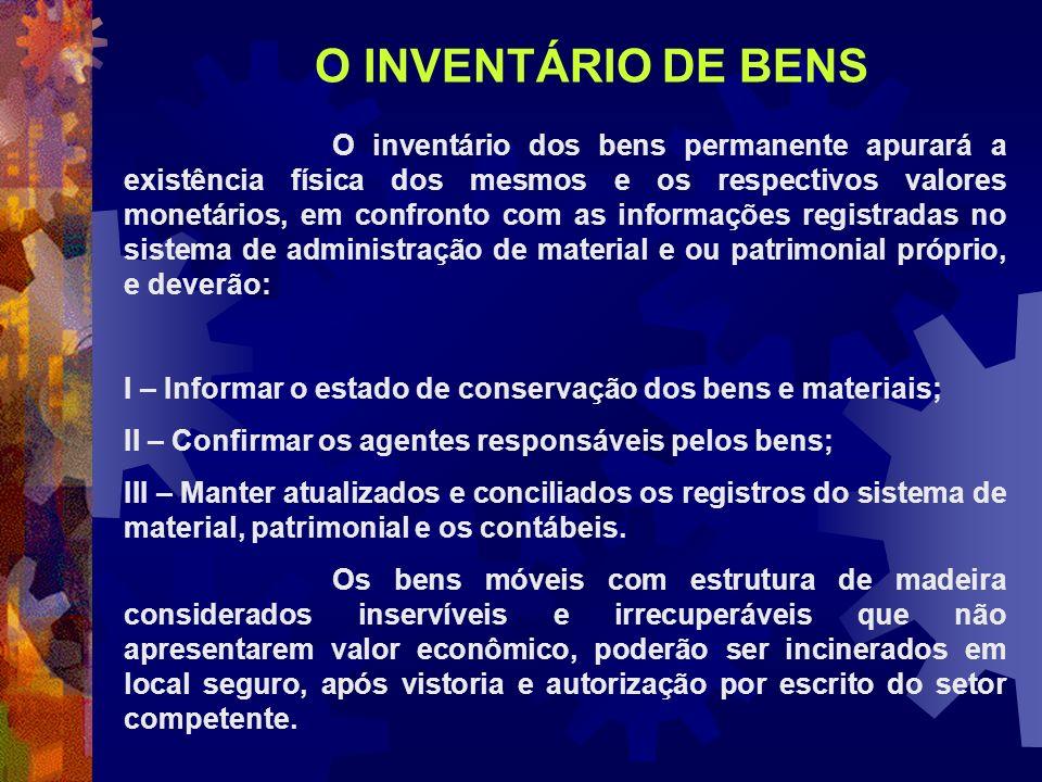 O INVENTÁRIO DE BENS