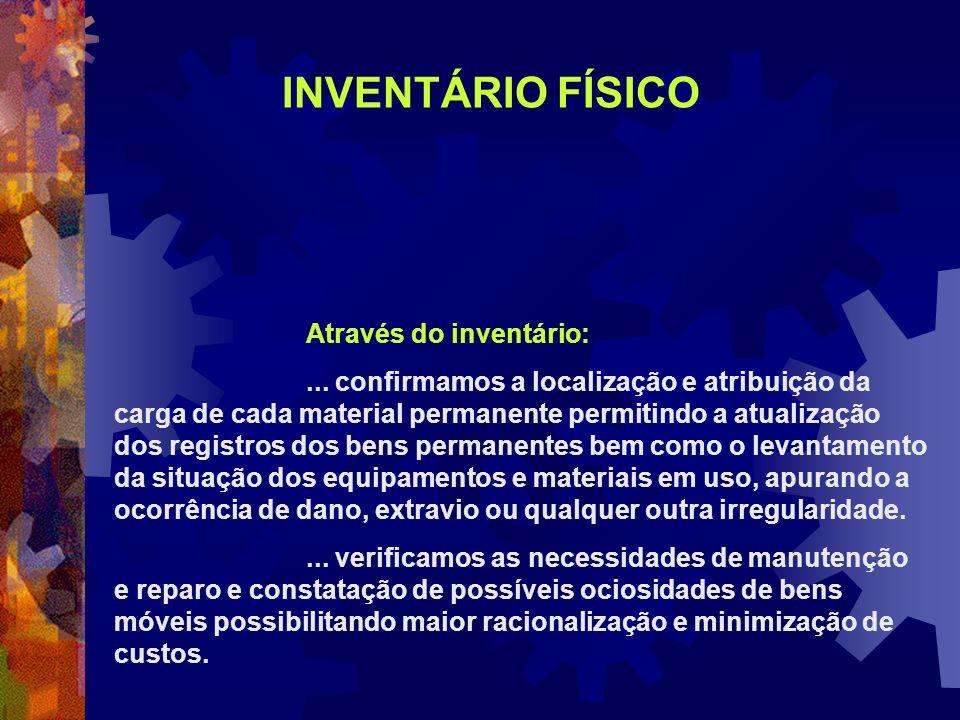 INVENTÁRIO FÍSICO Através do inventário: