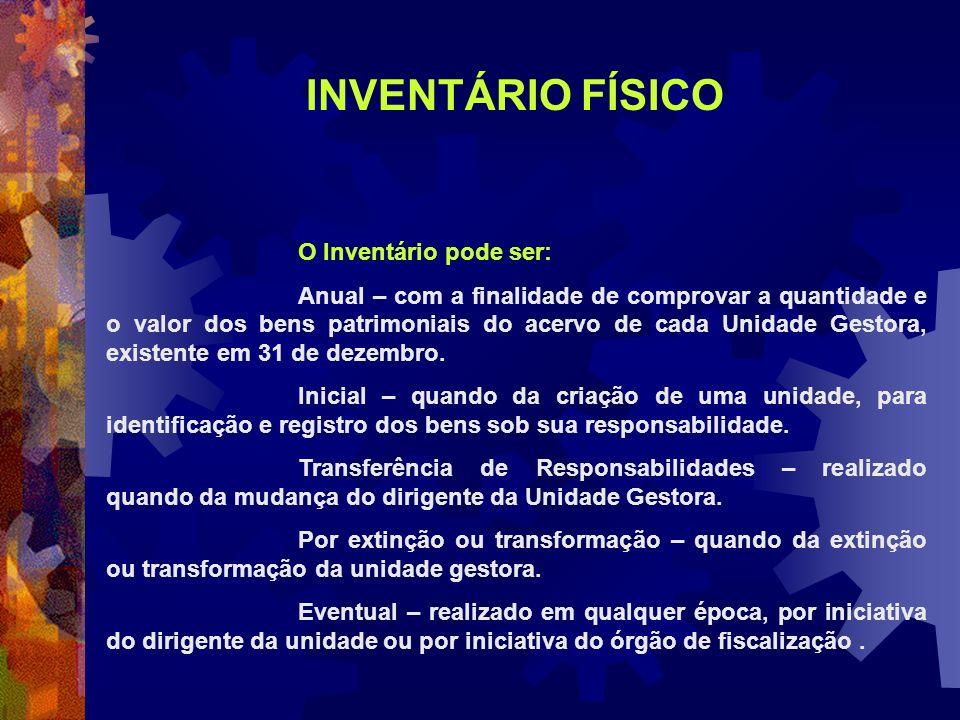 INVENTÁRIO FÍSICO O Inventário pode ser: