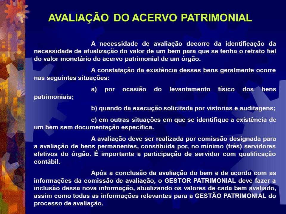 AVALIAÇÃO DO ACERVO PATRIMONIAL