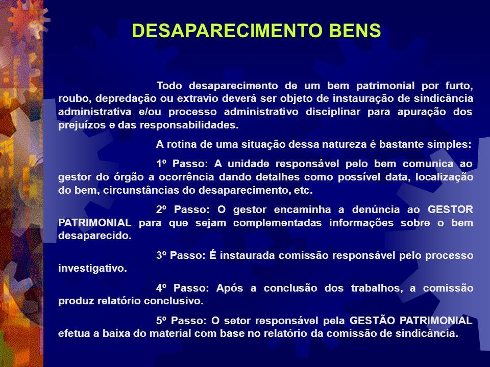 DESAPARECIMENTO BENS