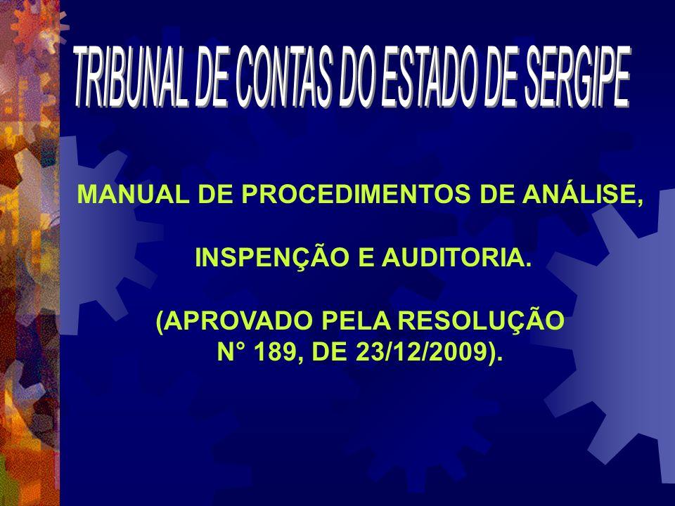 MANUAL DE PROCEDIMENTOS DE ANÁLISE, (APROVADO PELA RESOLUÇÃO