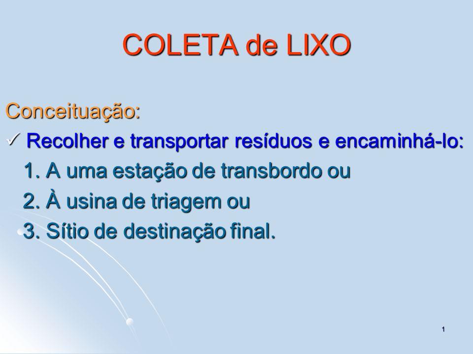 COLETA de LIXO Conceituação: 1. A uma estação de transbordo ou