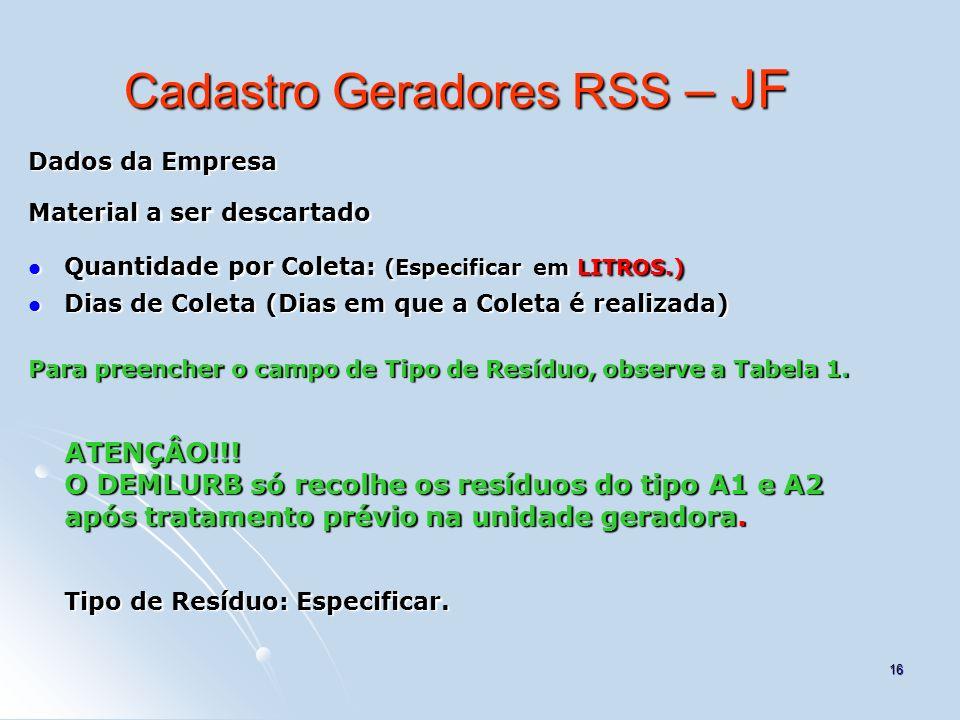 Cadastro Geradores RSS – JF