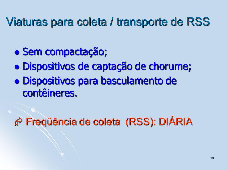 Viaturas para coleta / transporte de RSS