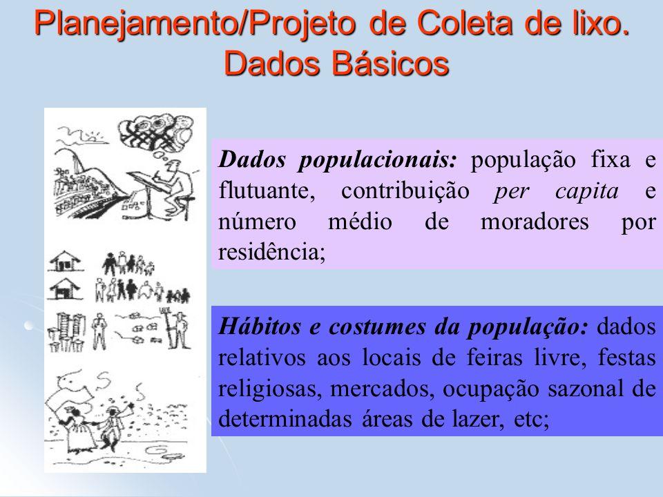 Planejamento/Projeto de Coleta de lixo. Dados Básicos