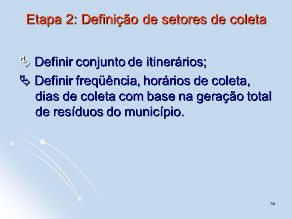 Etapa 2: Definição de setores de coleta