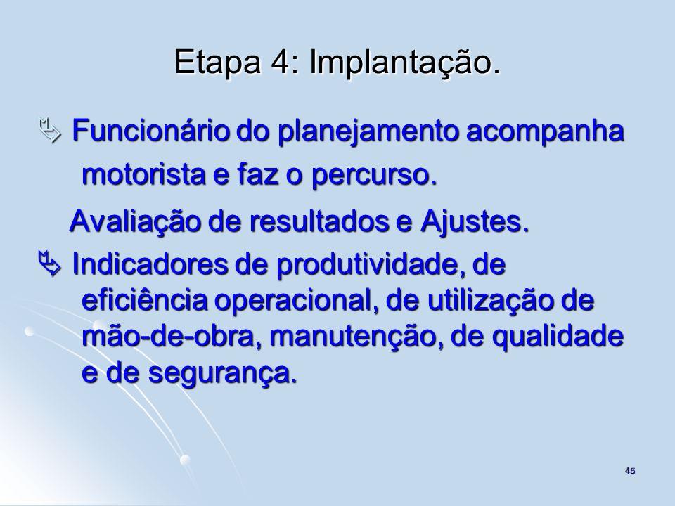 Etapa 4: Implantação.  Funcionário do planejamento acompanha motorista e faz o percurso. Avaliação de resultados e Ajustes.