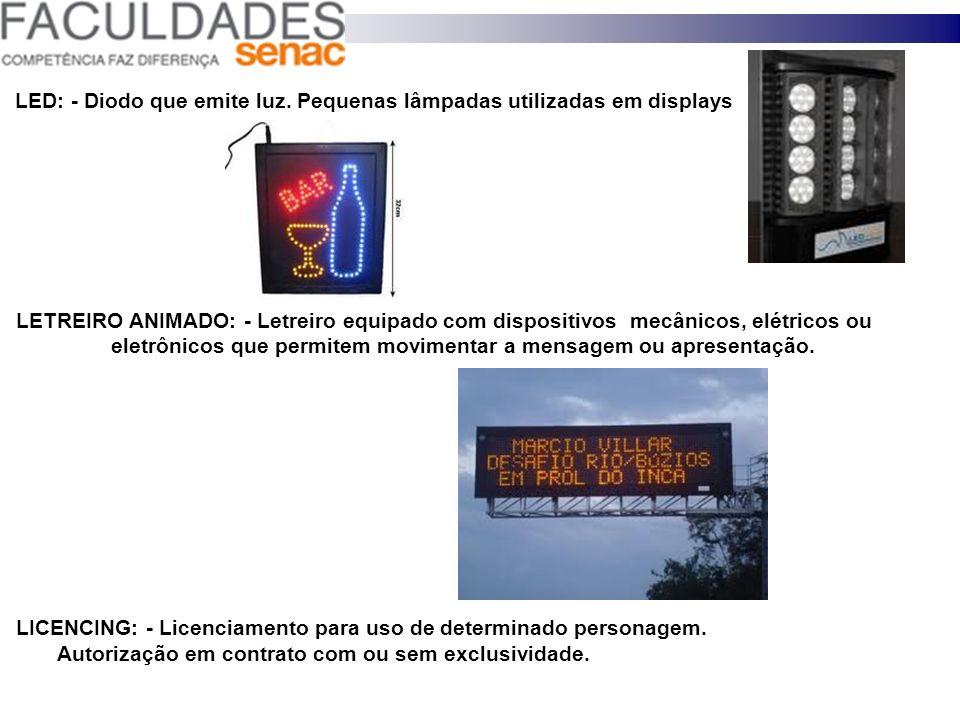 LED: - Diodo que emite luz. Pequenas lâmpadas utilizadas em displays