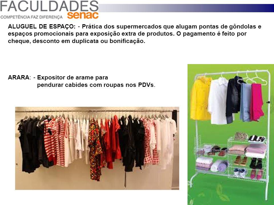 ALUGUEL DE ESPAÇO: - Prática dos supermercados que alugam pontas de gôndolas e espaços promocionais para exposição extra de produtos. O pagamento é feito por cheque, desconto em duplicata ou bonificação.