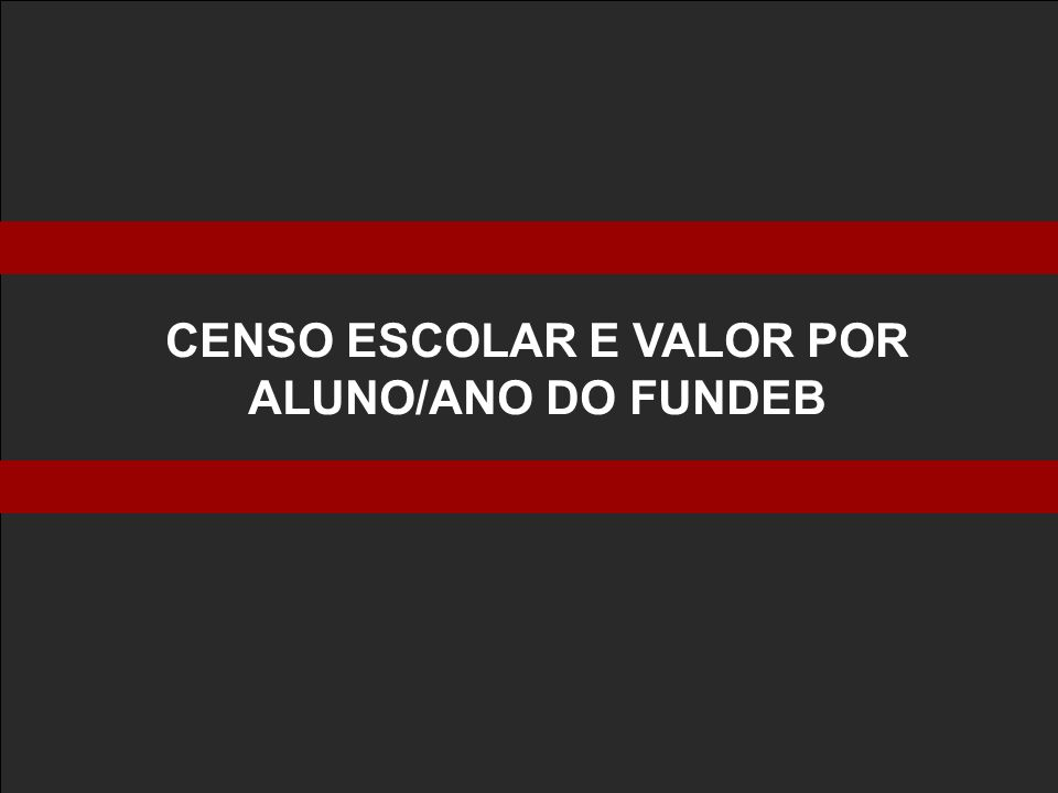 CENSO ESCOLAR E VALOR POR ALUNO/ANO DO FUNDEB