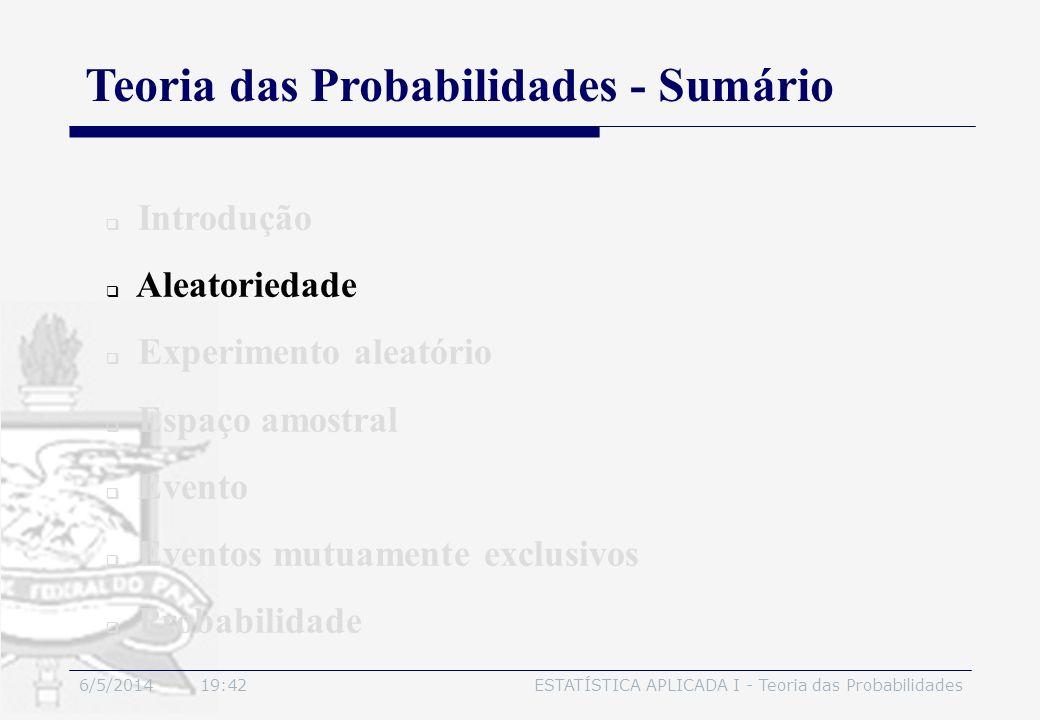Teoria das Probabilidades - Sumário
