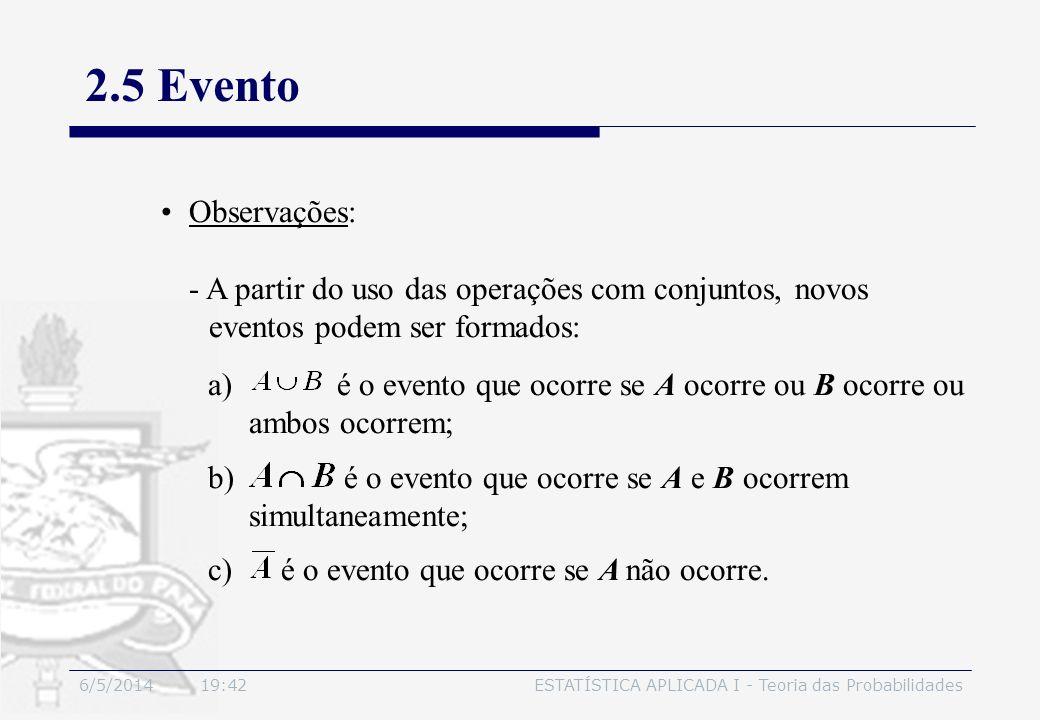 3/30/2017 2.5 Evento. Observações: - A partir do uso das operações com conjuntos, novos. eventos podem ser formados: