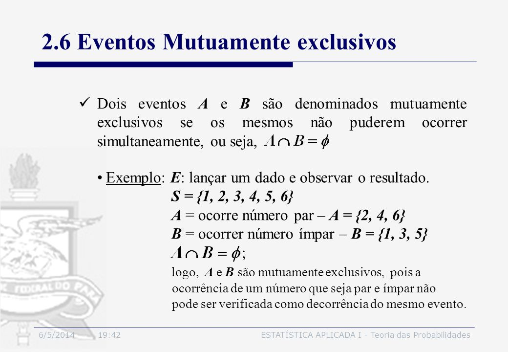 2.6 Eventos Mutuamente exclusivos