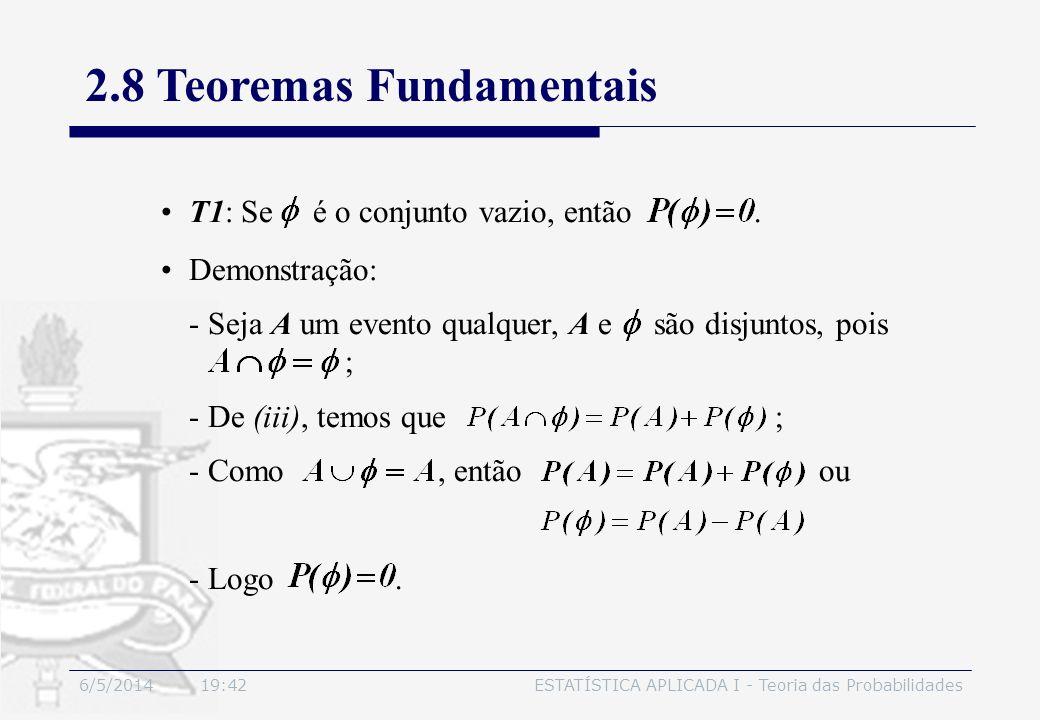 2.8 Teoremas Fundamentais