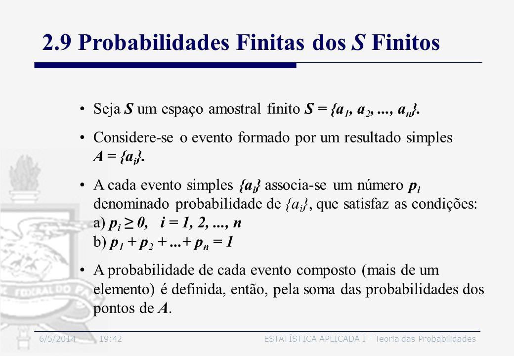2.9 Probabilidades Finitas dos S Finitos