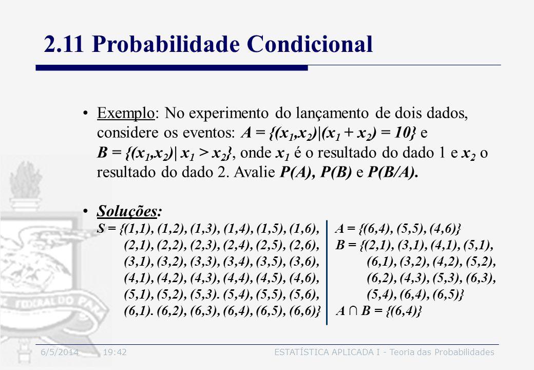 2.11 Probabilidade Condicional