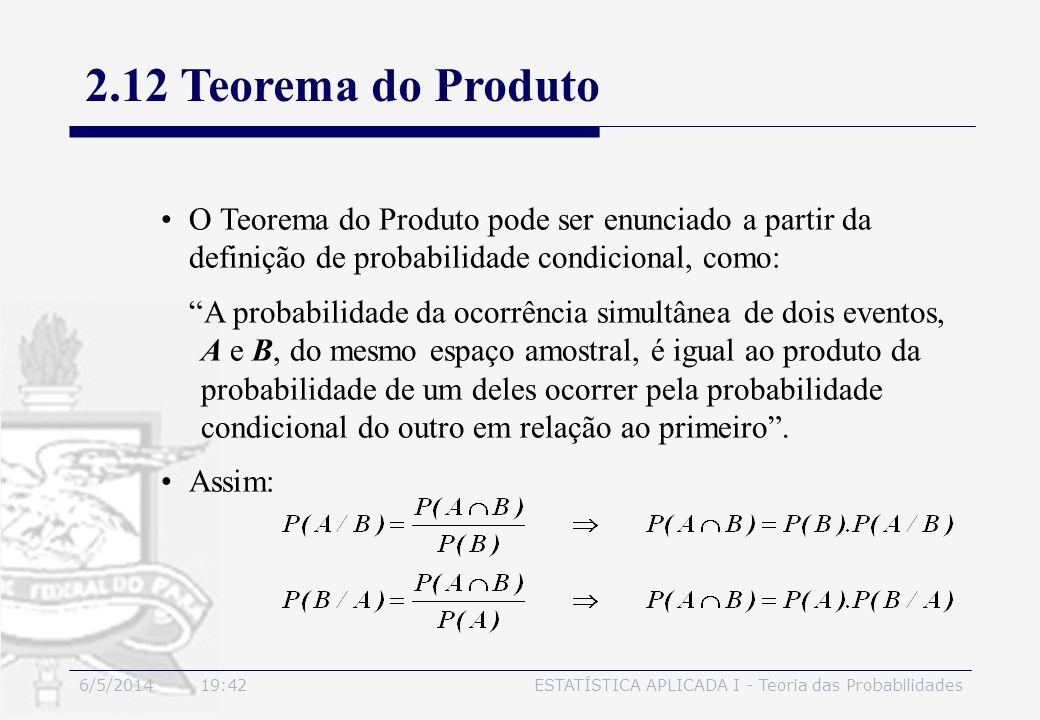 3/30/2017 2.12 Teorema do Produto. O Teorema do Produto pode ser enunciado a partir da definição de probabilidade condicional, como: