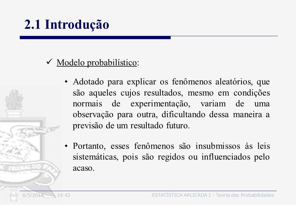 2.1 Introdução Modelo probabilístico: