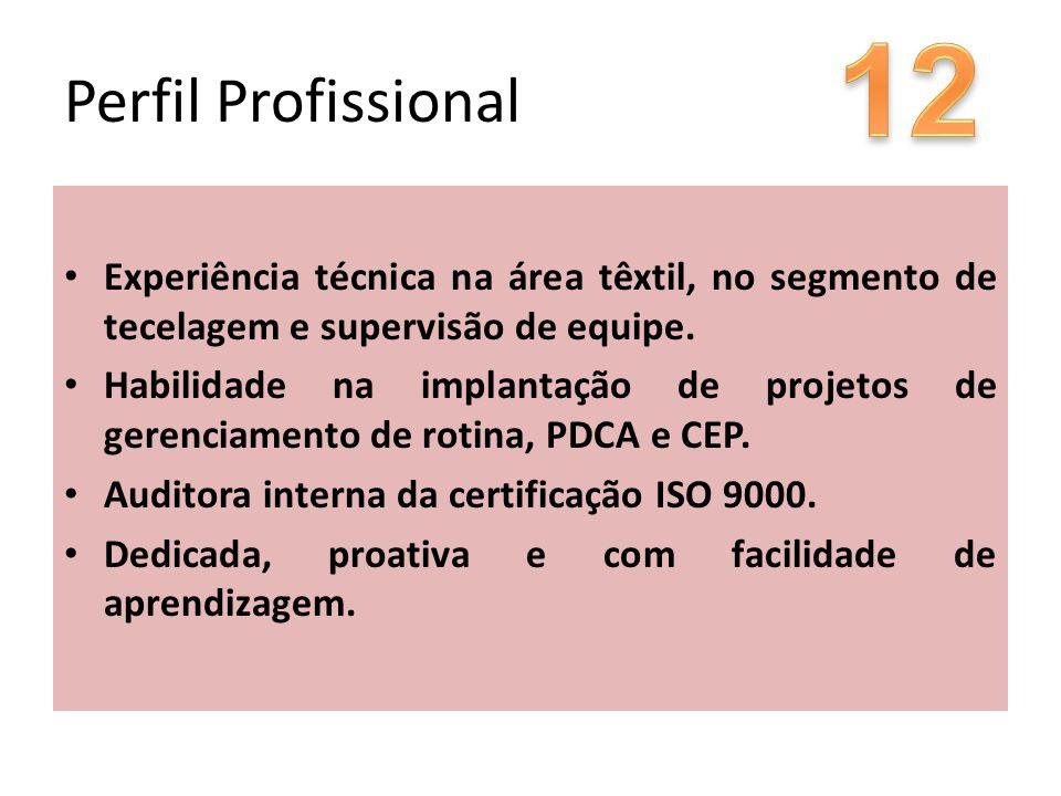 12 Perfil Profissional. Experiência técnica na área têxtil, no segmento de tecelagem e supervisão de equipe.